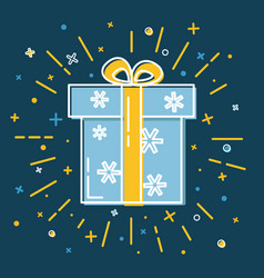 shining gift box icon with snowflakes in flat vector image