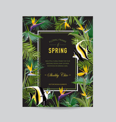 Tropical palm leaves flowers and exotic fish card vector