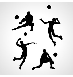 volleyball silhouettes collection vector image vector image