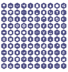 100 natural products icons hexagon purple vector