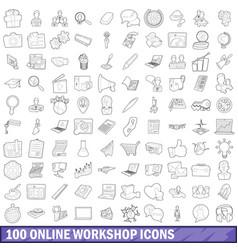 100 online workshop icons set outline style vector