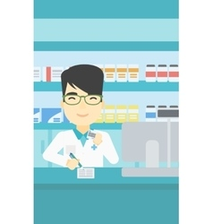 Pharmacist writing prescription vector