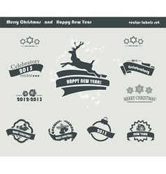 Set of Retro Christmas Labels vector image
