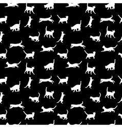 cat seamless background silhouette vector image