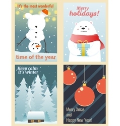 Winter postcards set vector