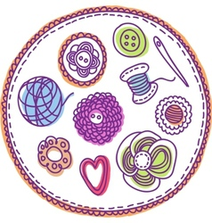 Hand-drawn needlework elements vector