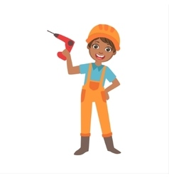 Boy holding electric drill kid dressed as builder vector