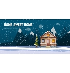 Sweet family home among mountains a winter banner vector