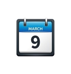 March 9 calendar icon flat vector