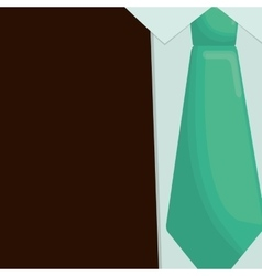 Green tie suit father day symbol vector