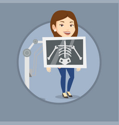 Patient during x ray procedure vector