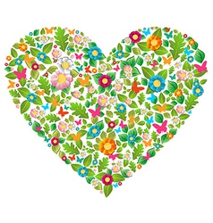Green floral spring love vector