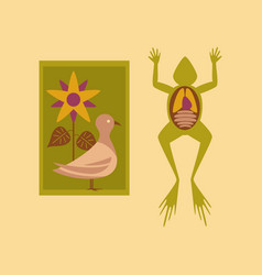 Flat icon on stylish background biology frog bird vector