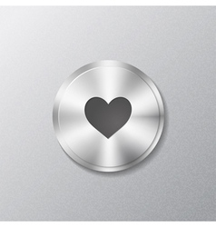 Metal round button with heart vector