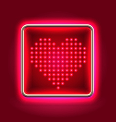 Heart glowing neon headboard vector image