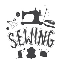 Sewing embleme design vector