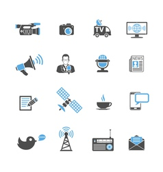 Media and news icons set vector