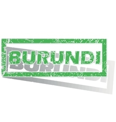 Green outlined burundi stamp vector