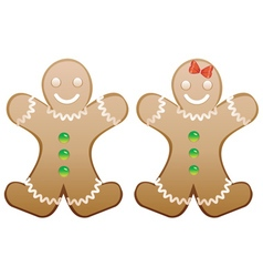 Smiling gingerbread cookies vector