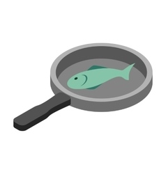 Fish in the pan 3d isometric icon vector