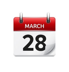 March 28 flat daily calendar icon date vector
