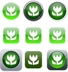 Macro green app icons vector