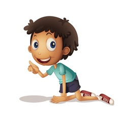 Boy kneeling vector