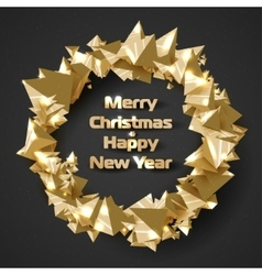 Beautiful Christmas wreath of stylized triangular vector image