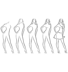 Beautiful female contour in drawing sequence vector image vector image