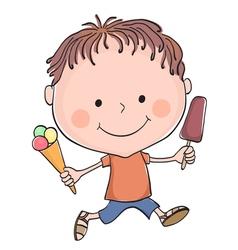 boy ice cream vector image