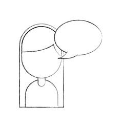 cartoon girl happy with bubble speech vector image