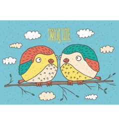 Couple of birds and spring time vector