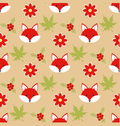 cute cartoon foxes in the forest vector image