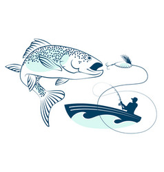 Fish jumping and a fisherman in a boat vector
