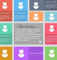 Flower rose icon sign Set of multicolored buttons vector image