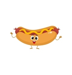 Funny hot dog fast food kids menu character vector