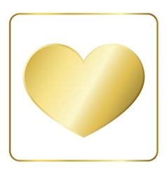 Gold heart metal vector