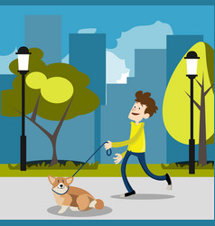 guy on a walk with a dog vector image vector image