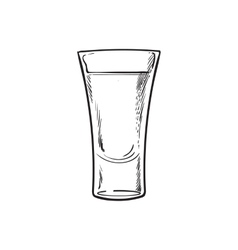 Hand drawn glass full of tequila isolated vector
