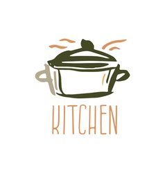Hand drawn logo with kitchen pan vector