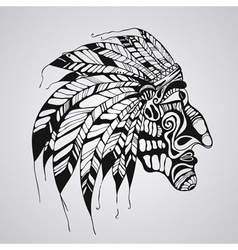 hand drawn Tattoo Native American Indian chief vector image vector image