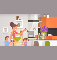Happy smiling mom with children in kitchen vector