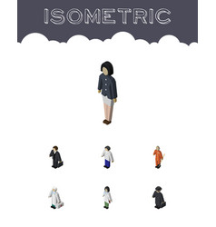 Isometric human set of doctor detective girl and vector