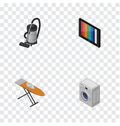isometric technology set of vac cloth iron vector image