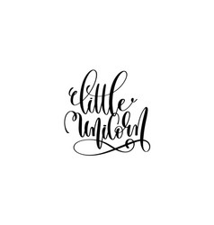 little unicorn - black and white handwritten vector image vector image
