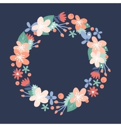 Nature flowers wreath with flowers foliage vector