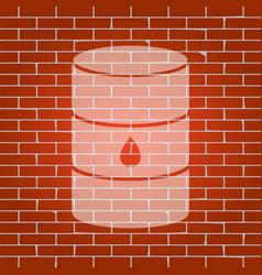 Oil barrel sign whitish icon on brick vector