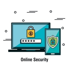 Online security flat icons vector