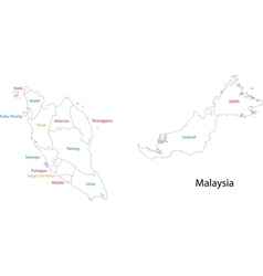 Outline Malaysia map vector image vector image