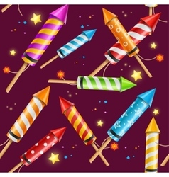 Party rocket fireworks background pattern vector